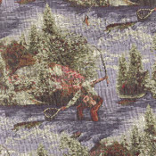 ANGLER STREAM FISHING TAPESTRY FABRIC