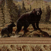 BLACK BEAR WILDLIFE TAPESTRY